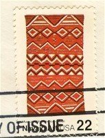 Navajo Blankets jagged line horizontally 22 cent stamp American Folk Art Issue FDI SC 2238