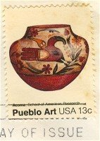 Acoma Pot Pueblo Art 13 cent stamp American Folk Art Issue FDI SC 1709 First Day Issue