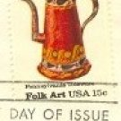 Pennsylvania Toleware Curved Spout Coffeepot 15 cent stamp American Folk Art Issue FDI SC 1778