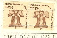Liberty Bell 13 cent Stamp Coil Pair Americana Issue FDI SC 1595 First Day Issue