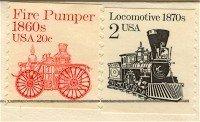 Fire Pumper Locomotive Stamp Transportation Issue Cancellation Error FDI First Day Issue