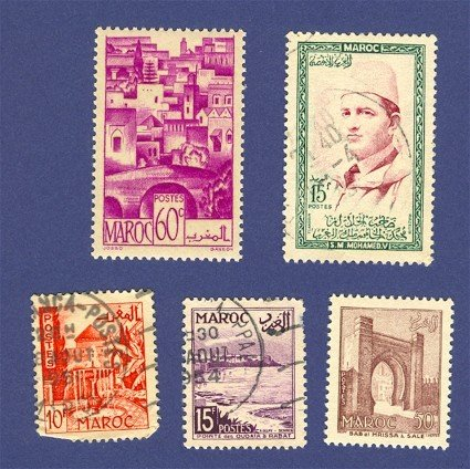 French Colony Morocco 5 stamps