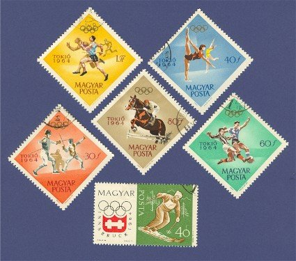 1964 Olympics 6 stamps from Hungary