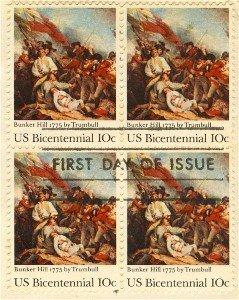 Battle of Bunker Hill 10 cent Stamp Block 4 Bicentennial Issue FDI SC 1564 First Day Issue
