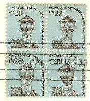 Fort Nisqually 28 cent Stamp Block of 4 FDI SC 1604 First Day Issue
