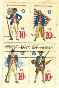 Military Uniforms Complete set  4 Block  4 American Bicentennial Issue FDI SC 1568a First Day Issue