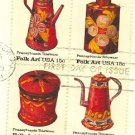 Pennsylvania Toleware Block 4 Stamps Complete American Folk Art Issue SC 1778a First Day Issue