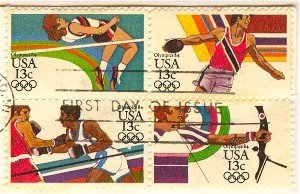 Summer Olympics Set Block of 4 different Stamps FDI SC 2051a First Day Issue 13 cent
