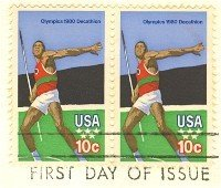 Javelin Thrower Decathlon Olympics 10 cent Stamp Horizontal Pair FDI SC 1790 First Day Issue