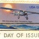 Solo Transatlantic Flight 13 cent Stamp FDI SC 1710 First Day Issue