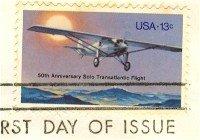 Solo Transatlantic Flight 13 cent Stamp FDI SC 1710 First Day Issue