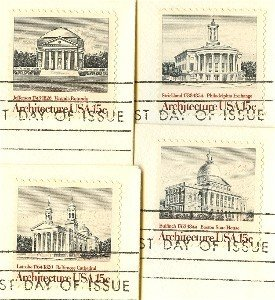 American Architecture Issue Complete Set 4 stamps 15 cent FDI First Day Issue