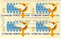 International Womens Year 10 cent Stamp Block of 4 FDI SC 1571 First Day Issue