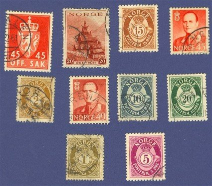 Norway Packet No 1450 with 10 stamps