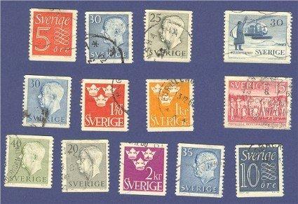 Sweden 13 stamps