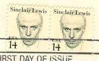 Sinclair Lewis 14 cent Stamp Vertical Pair Great Americans Issue FDI SC 1856 First Day Issue