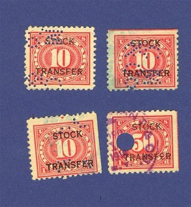 4 United States Stock Transfer Stamps
