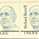 Richard Russell 10 cent Stamp Vertical Pair Great Americans Issue FDI SC 1853 First Day Issue