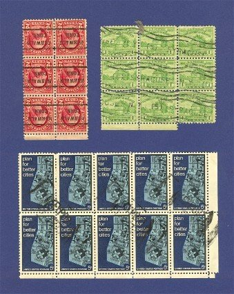 United States Stamps in a Block of 10 a Block of 9 and a Block of 6   Packet No 16632