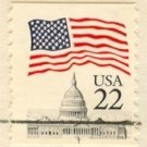Flag Over Capitol Coil Stamp with inscribed T Bottom 22 cent FDI SC 2115b First Day Issue