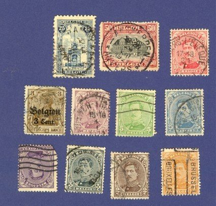Belgium 11 stamps from 1915 to 1921   Packet 3657