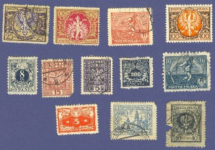 Poland 12 stamps from 1920 to 1925   Packet No 5557