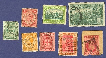 Jamaica 8 stamps Packet No 2  1906 to 1922