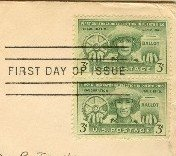 Puerto Rico Election 3 cent Stamp Vertical Pair FDI SC 983 First Day Issue