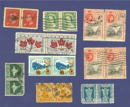 Pairs of Stamps Triplets of Stamps Variety Pack No 7 Canada India Jamaica Others
