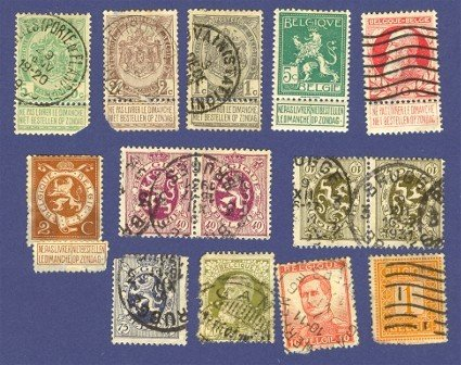 Belgium 13 Stamps from 1905 to 1915  Packet No 4726