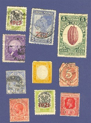 10 Stamps Variety Pack No 5  Curacao Ecuador Gibraltar Gold Coast Others 1855 to 1930