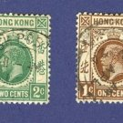 Hong Kong 2 Stamps from 1913 to 1922  Packet No1671