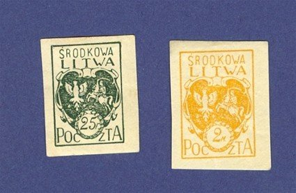 Central Lithuania 2 Stamps from 1920