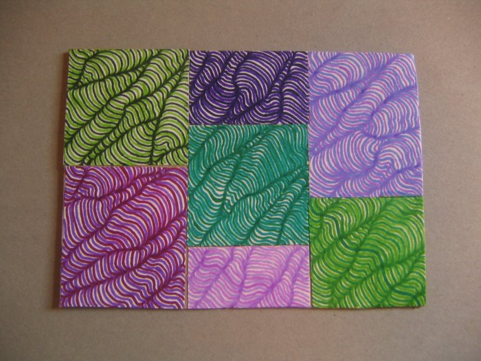 Painstakingly Hand-drawn Optical Illusion in Green and Purple