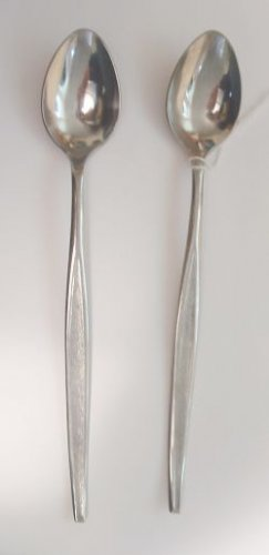 2 Iced Tea Spoons Ekco Eterna Stainless Flatware Sorority Free Shipping