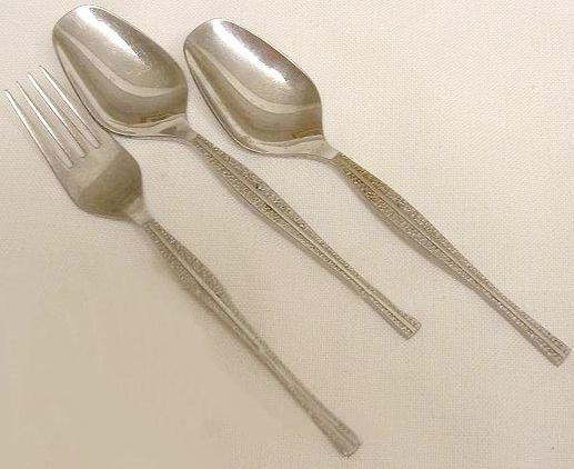 3 Pieces Place Fork Soup Spoons Nasco  Stainless Flatware Rivoli Free Shipping