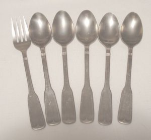 5 Tea Spoons Teaspoons Rogers Co. Stanley Roberts Stainless Flatware SRB140 Free Shipping