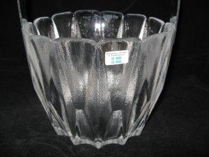 LINDSHAMMAR SWEDEN CRYSTAL ICE BUCKET  w/ Foil LABEL Scandinavian Art Glass-EAMES ERA