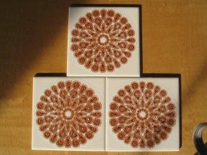 Mettlach Villeroy Boch Saar Germany Atomic Starburst Retro - Set 3- Kitchen Bath Decorator Tiles