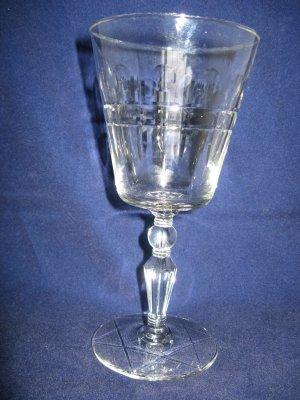Libbey Rock Sharpe Water Goblet - Pattern #3006 Jefferson Stem w/ Wayne Cutting
