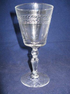 Libbey Rock Sharpe Water Goblet - Pattern #3006 Jefferson Stem w/ Laurel Cutting