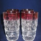 Lot of 4 Ruby Kings Crown Thumbprint Iced Tea Glasses /Tumblers