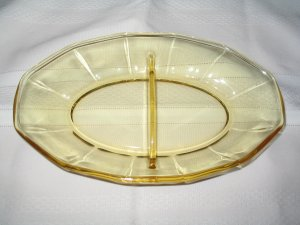 FOSTORIA FAIRFAX TOPAZ YELLOW DIVIDED RELISH PICKLE DISH