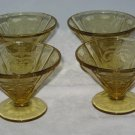 Federal Madrid Amber Set 4 Ftd Sherbets - Depression Glass