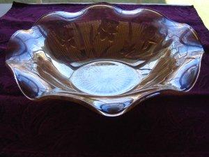 Jeannette/Jeanette Iris & Herringbone Iridescent Marigold Ruffled Serving Bowl