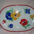 Block Vista Alegre Portugal Anemone Flower Power Oval Serving Platter 1970s mod