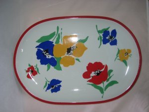Block Vista Alegre Portugal Anemone Flower Power Oval Serving Platter 1970s mod