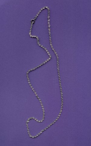 Hoop Link Style Chain  Silver Plated 24 inch length FREE SHIPPING