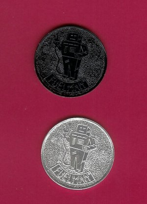 Fuel Man Tokens Aluminum     2pcs  Silver Black Collectibles FREE SHIPPING