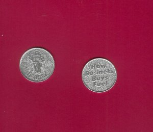 Fuel Man Tokens Aluminum     2pcs  Silver Collectibles FREE SHIPPING